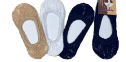 96 of Ladies' Lace Foot Cover One Size Fits Most In Beige