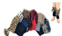 24 of Ladies' Faux Fur Leg Warmer One Size