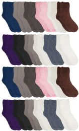 24 of Yacht & Smith Women's Solid Colored Fuzzy Socks Assorted Neutral Colors, Size 9-11