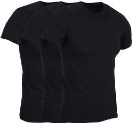 3 of Mens Lightweight Cotton Crew Neck Short Sleeve T-Shirts Black, Size Medium