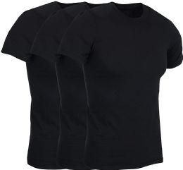 3 of Mens Lightweight Cotton Crew Neck Short Sleeve T-Shirts Black, Size X Large
