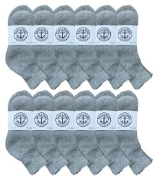 24 of Yacht & Smith Mens Cotton Gray Sport Ankle Socks, Sock Size 10-13