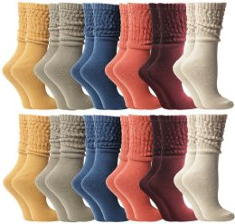 24 of Yacht & Smith Slouch Socks For Women, Assorted Colors Size 9-11 - Womens Scrunchie Sock