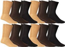 12 of Yacht & Smith Women's Cotton Diabetic NoN-Binding Crew Socks - Size 9-11 Assorted Brown, Khaki, Navy