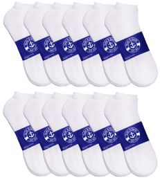 12 of Yacht & Smith Mens White Lightweight Cotton No Show Socks, Sock Size 10-13