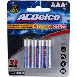 48 of Batteries Aaa 4pk Alkaline Ac Delco Carded