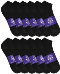 12 of Yacht & Smith Mens Black Lightweight Cotton No Show Ankle Socks, Sock Size 10-13
