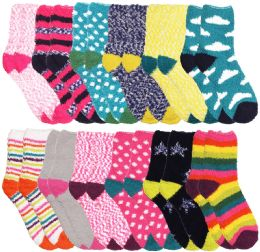 24 of Yacht & Smith Women's Assorted Printed Fuzzy Socks Assorted Colors, Size 9-11