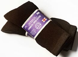 3 of Yacht & Smith Women's Cotton Diabetic Non-Binding Crew Socks - Size 9-11 Brown