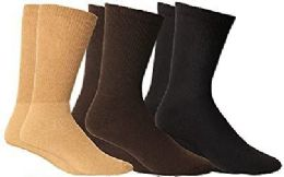 3 of Yacht & Smith Men's Cotton Diabetic Non-Binding Crew Socks - Size 10-13 Assorted Brown
