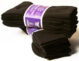 3 of Yacht & Smith Men's Cotton Diabetic Non-Binding Crew Socks - King Size 13-16 Brown