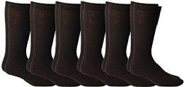 6 of Yacht & Smith Men's Cotton Diabetic Non-Binding Crew Socks - Size 10-13 Brown