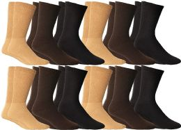 12 of Yacht & Smith Men's Cotton Diabetic Non-Binding Crew Socks - Size 10-13 Assorted Brown