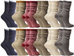 24 of Yacht & Smith Slouch Socks For Women, Assorted Colors Size 9-11 - Womens Crew Sock