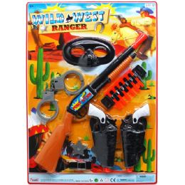 """12 of 18"""" SOFT DART TOY WILD WEST COWBOY SET ON BLISTER CARD"""