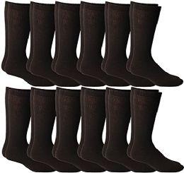 12 of Yacht & Smith Men's Cotton Diabetic Non-Binding Crew Socks - King Size 13-16 Brown