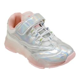 12 of Girls Sneaker in Silver and Blush