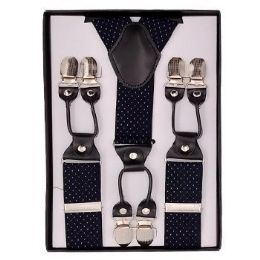 24 of Royal Blue With White Polka Dot Suspenders