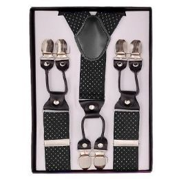 24 of Black With White Polka Dot Suspenders