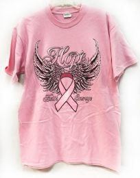 24 of Pink T Shirt Pink Ribbon With Wings Assorted Sizes