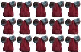 240 of Double Pom Pom Ribbed Winter Beanie Hat, Multi Color Pom Pom Solid Red