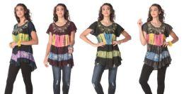 12 of Acidwash Tie Dye Short Sleeve Rayon Tops