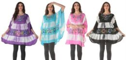 12 of Tie Dye Rayon Floral Painted Poncho Tops