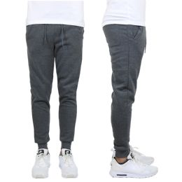 24 of Men's Heavy Weight Joggers In Charcoal Assorted Sizes