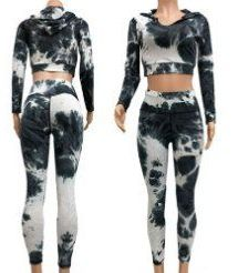 12 of Black and White Tie Dye Workout Cropped Top and Legging