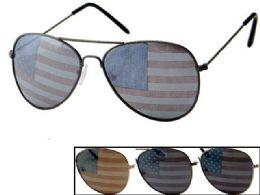 24 of USA Flag Assorted Aviator Sunglasses