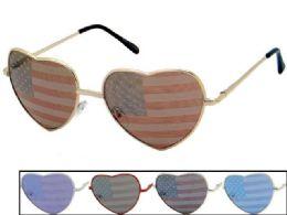 24 of Heart Shaped Metal USA Flag Sunglasses