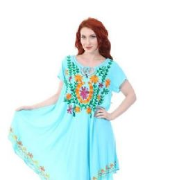 12 of Rayon Soild Color Multicolor Embroidery Dress Assorted