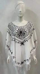12 of White Rayon Poncho With Embroideries