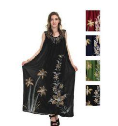 12 of Rayon Long Straight Dress Solid Dye Brush Paint