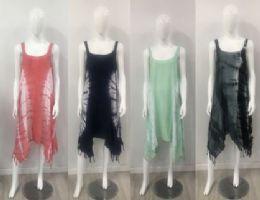 12 of Rayon Tie Dye Color Asymmetric Cut Dress