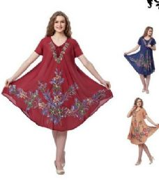 12 of Rayon Solid Color Dress with Brush Painted Design