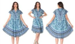 12 of Rayon Printed Dress with Placket 1 Color