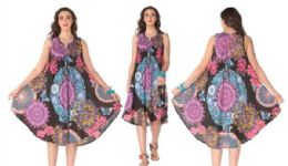 12 of Rayon Printed Dress with Zipper 1 Color
