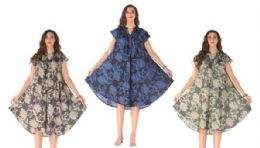 12 of Rayon Printed Dress With Placket Assorted Colors