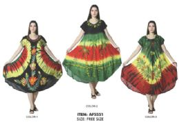 12 of Rayon Short Sleeve Tie Dye Dress Assorted Rasta Colors