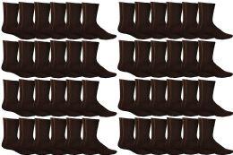 48 of Yacht & Smith Women's Sports Crew Socks, Size 9-11, Brown