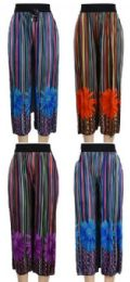 24 of Multicolor Verticle Stripe with Flower Summer Pants