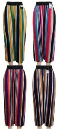 24 of Multicolor Verticle Stripe Summer Pants Assorted Colors