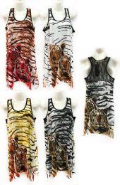 12 of Rhinestone Twin Tiger Print Tank Top with Lace Back