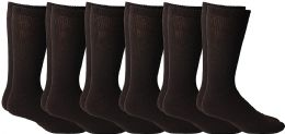 6 of Yacht & Smith Men's King Size Loose Fit Non-Binding Cotton Diabetic Crew Socks (Brown King Size 13-16)