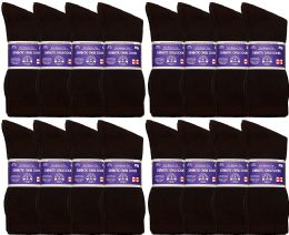 36 of Yacht & Smith Men's Non-Binding Cotton Diabetic Loose Fit Crew Socks (Brown King Size 13-16)