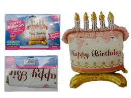 144 of Happy Birthday Cake Balloon W/ Stand