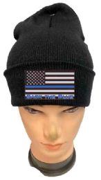 36 of Black color Winter Beanie Black the Blue USA Flag