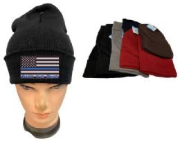36 of Assorted color Winter Beanie Black the Blue USA Flag