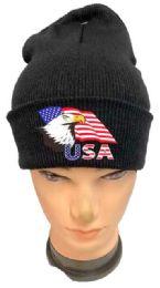 36 of Black color Winter Beanie Eagle USA Flag